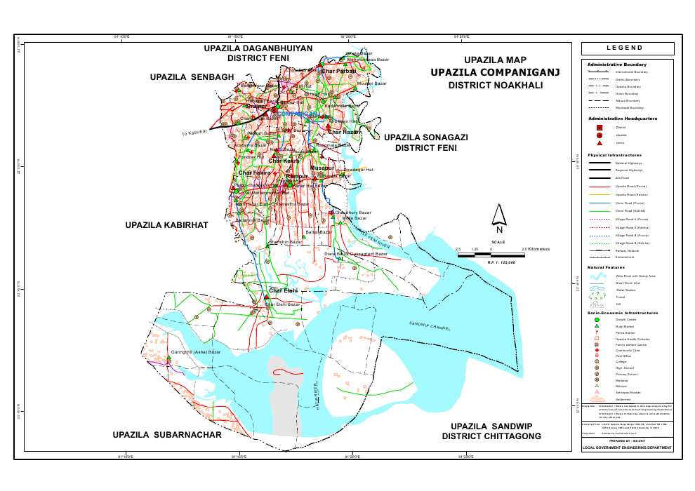 Companiganj Upazila Map Noakhali District Bangladesh