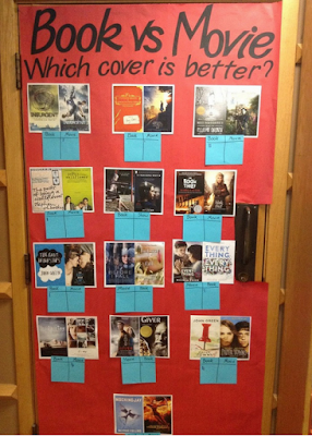 book and movie covers display, with voting options