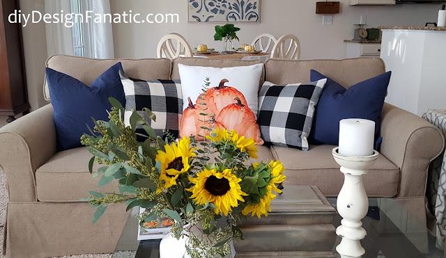 Fall pillows, fall, sunflowers, mantel, farmhouse, cottage, farmhouse style, cottage style, family room, Craftberry Bush
