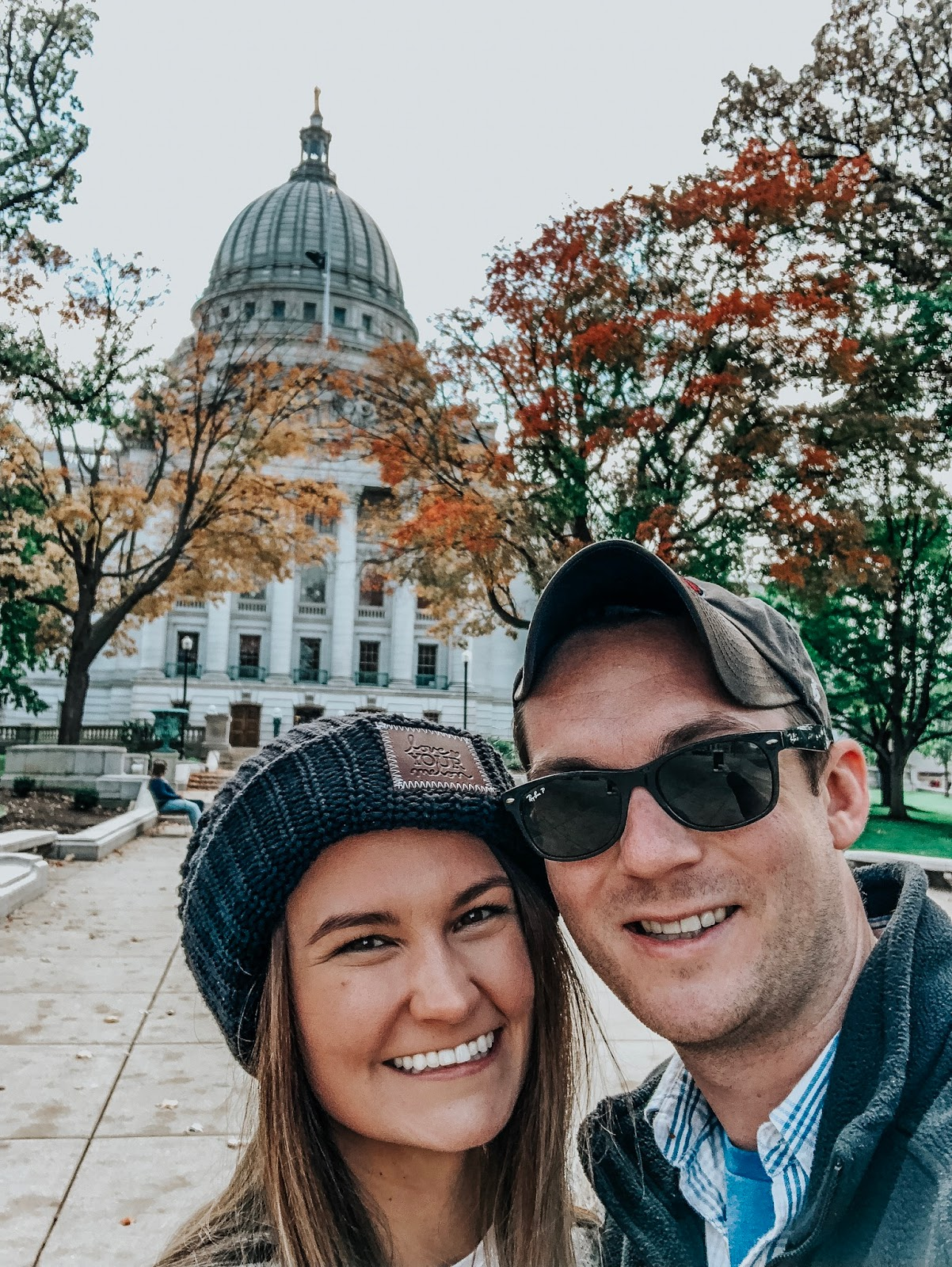 Tampa blogger and her husband selfieing in front of the capitol building in Madison, Wisconsin