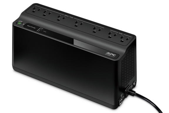 The APC Battery Backup has seven total outlets with three-pronged plugs, with five outlets for backup protection and two providing only surge protection.