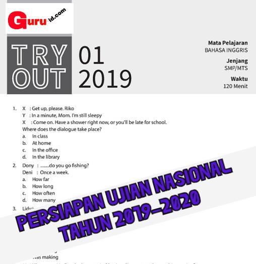 GAMBAR SOAL tRY OUT bahasa Inggris kelas 9 Tahun 2020