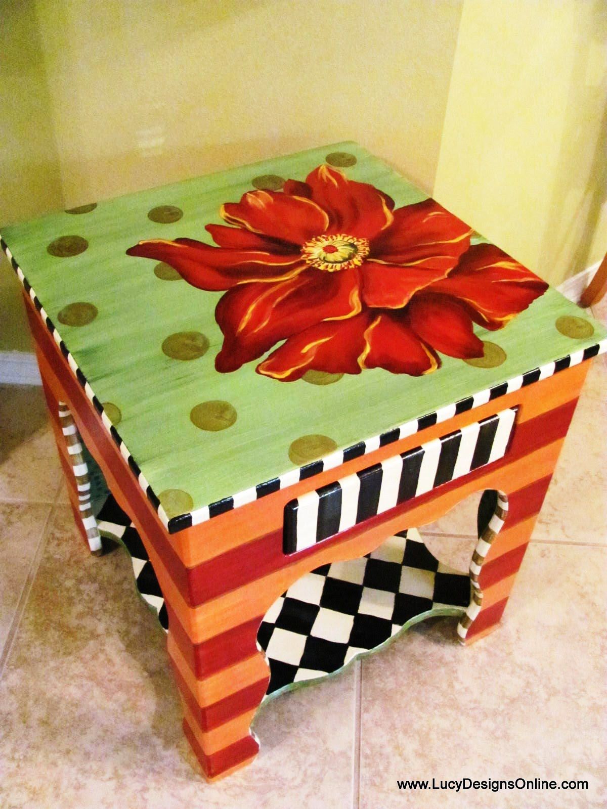 Table Painting Designs Painted Flower Table Lucy Designs