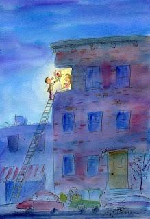 Charge. Rapaz usa escada para entregar buquê de flores para namorada, que se encontra no terceiro andar de prédio.