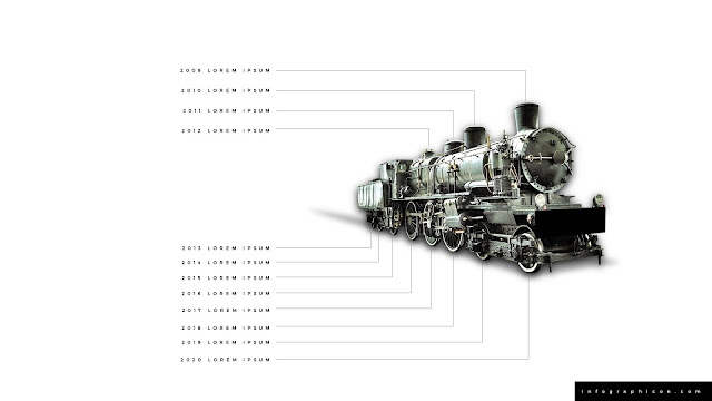 Timeline Infographic Elements with Locomotive in White Background Slide 2