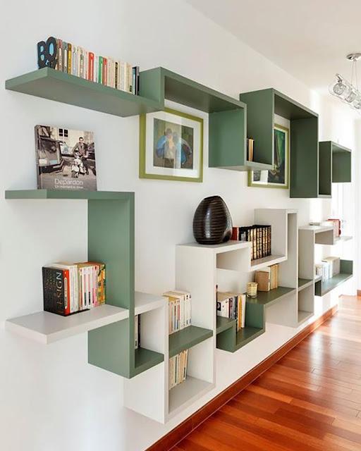 bibliothèque labyrinthe vert et blanche