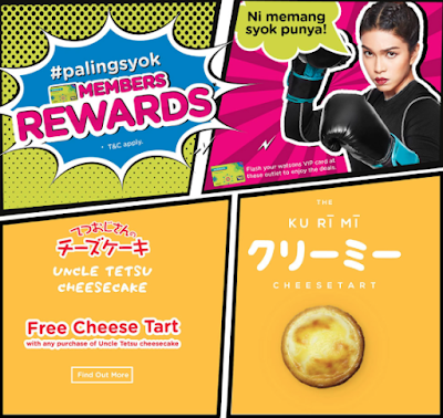 Watsons Members Rewards Uncle Tetsu Free Cheese Tart with Cheesecake Purchase