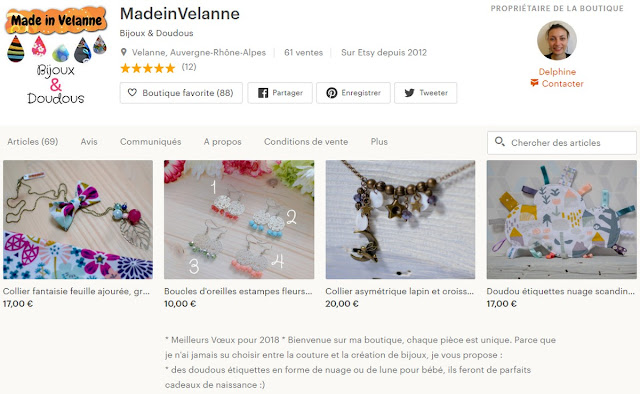 boutique en ligne made in Velanne sur Etsy