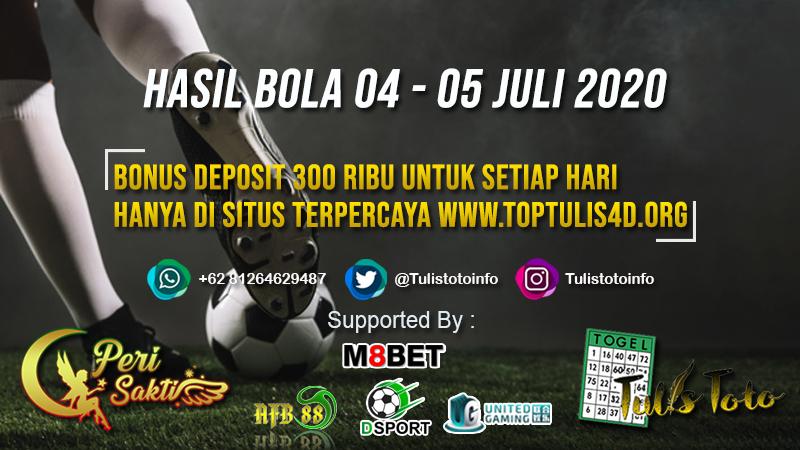 HASIL BOLA TANGGAL 04 – 05 JULI 2020