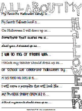 All About Me Halloween Activities