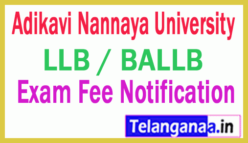 Adikavi Nannaya University LLB / BALLB Exam Fee Notification
