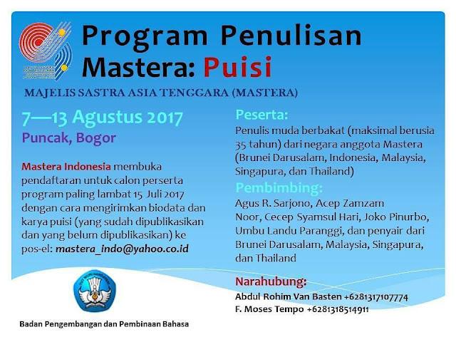 Program Penulisan Mastera Puisi Tahun 2017