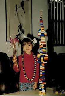 Young Erin with a Lego tower