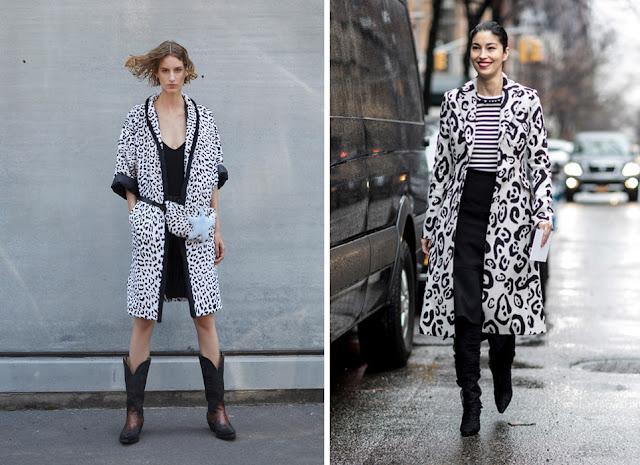 Черно-белое леопардовое пальто