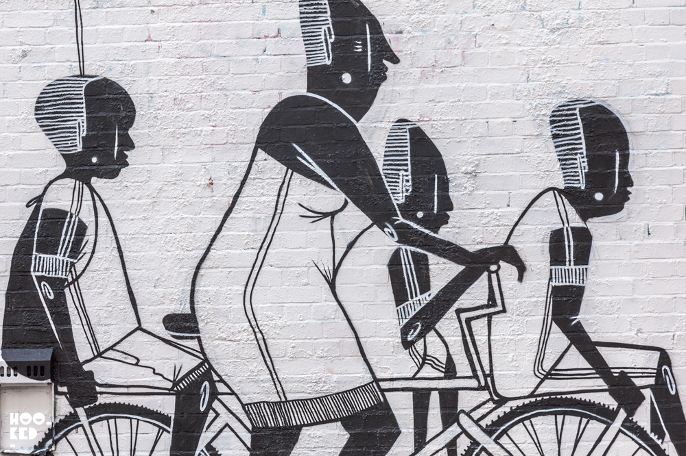 São Paulo street artist Alex Senna paints London Mural. Photo ©Hookedblog / Mark Rigney