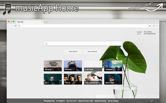 MusicApp Home (New Tab)