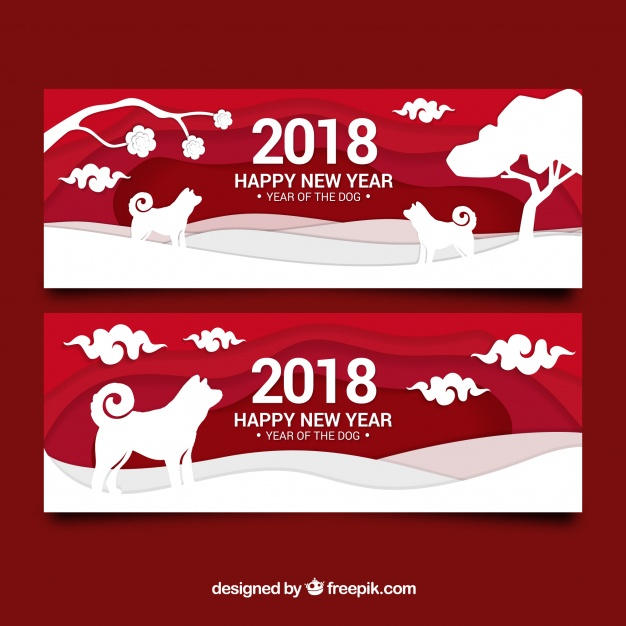 Chinese new year banners with paper shapes Free Vector