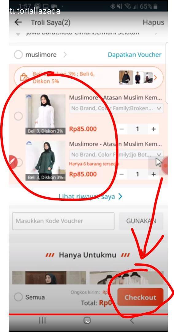 klik Checkout untuk melanjutkan ke pembayaran