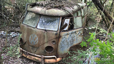 The bus was left in the woods for more than 40 years, shown as I found it.