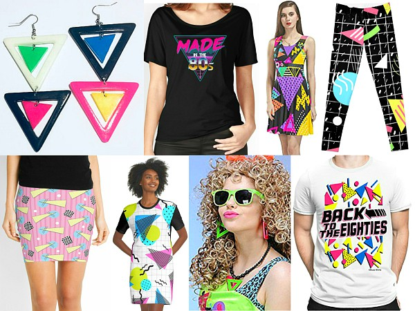 Collage of 80s clothing featuring triangles