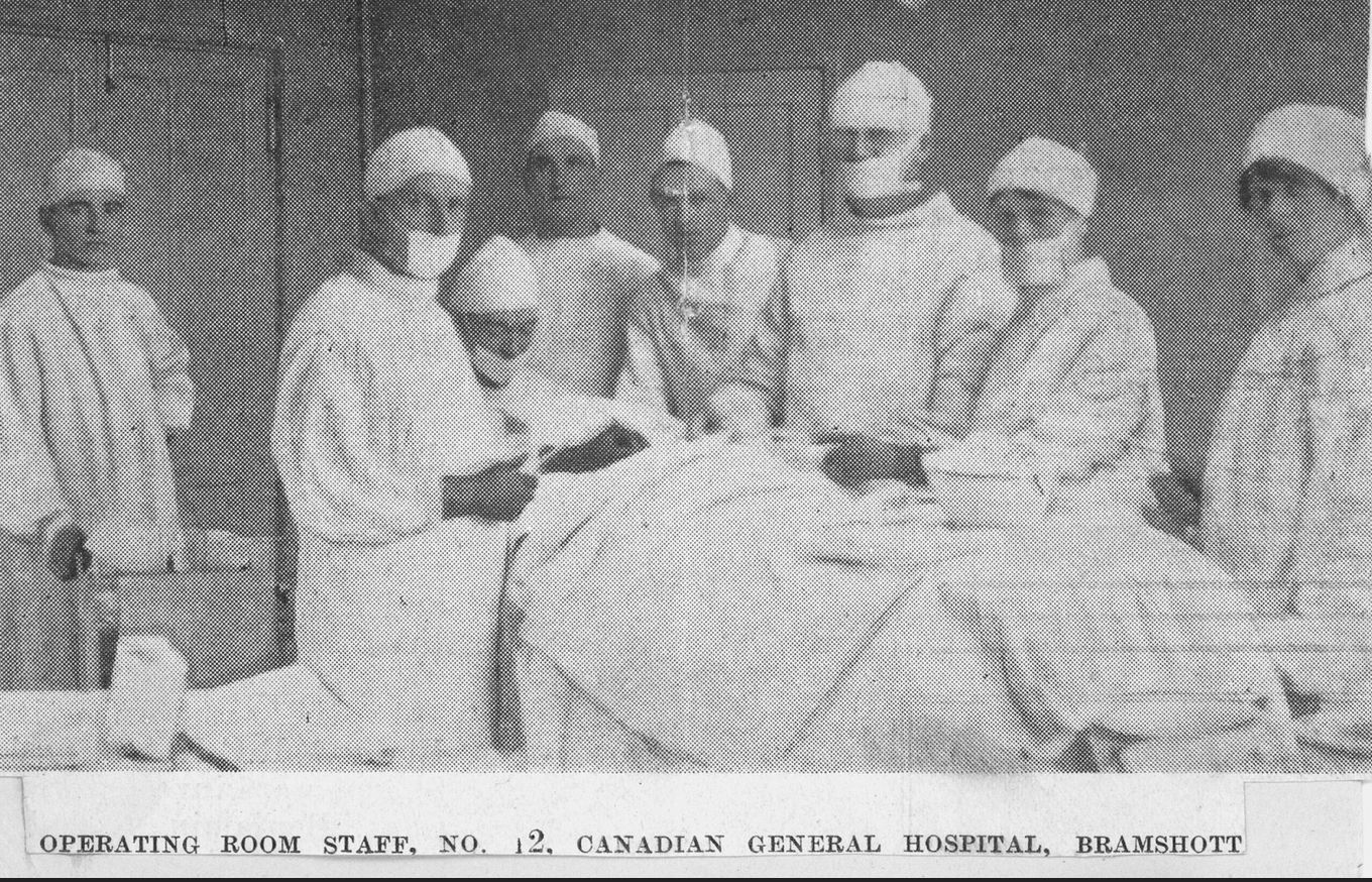 "Loose newspaper clipping, titled ""Operating Room Staff, No. 2 Canadian General Hospital, Bramshott"""