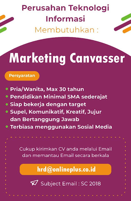 Loker Marketing Canvasser Bandung