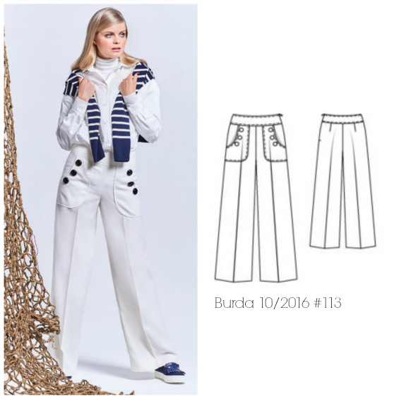 Burda 10/2016 #113 sailor pants www.loweryourpresserfoot.blogspot.com