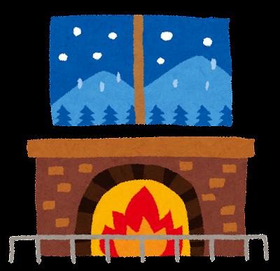 暖炉のイラスト「雪の降る夜」