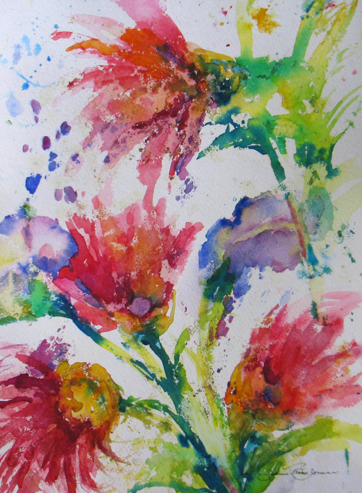 Daily Painters Abstract Gallery Quot Floral Garden Splash I Quot Original Abstract Floral Watercolor