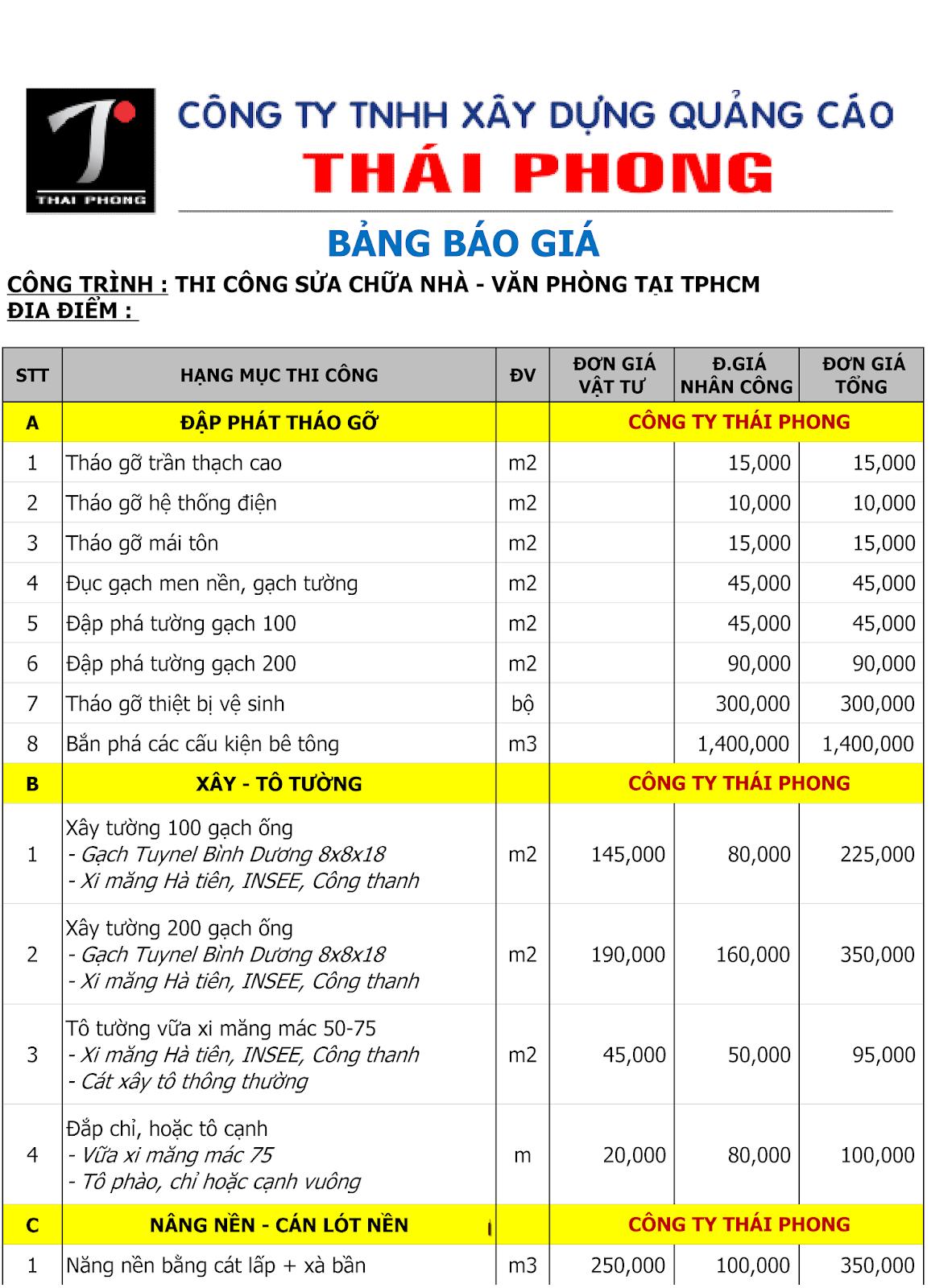 BANG GIA THI CONG SON SUA CHUA VAN PHONG