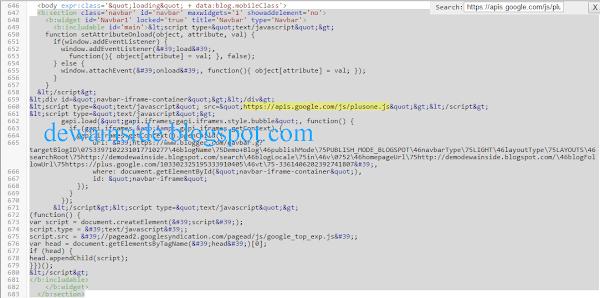 Menghilangkan Script plusone.js di Blogger