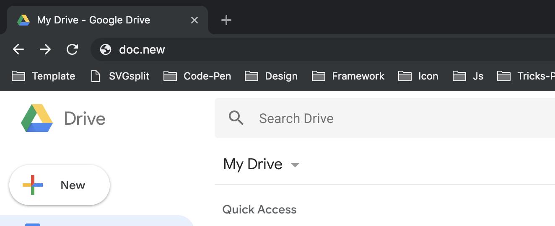 Google Drive New Shortcut