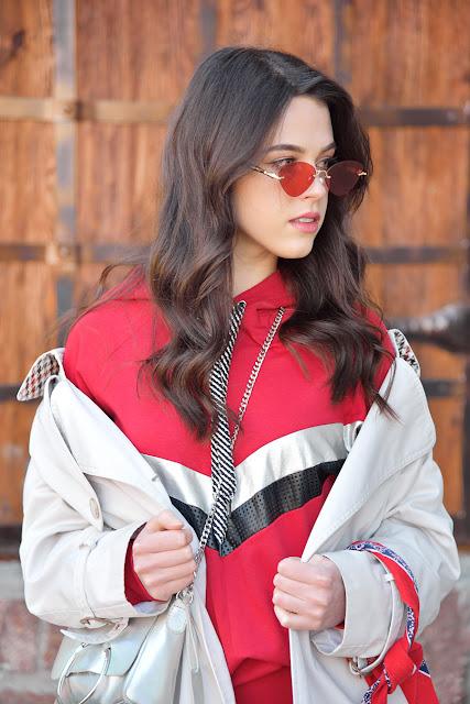 Красные очки, спорт шик, sport chic