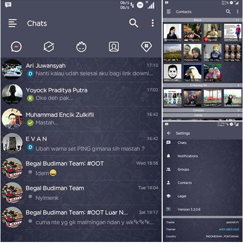 Download BBM Mod Dark Navy Include Delta v6  [Based 3.2.0.6 New Version] Apk Terbaru Gratis