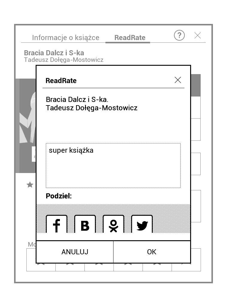 PocketBook Touch Lux 4 – dodawanie komentarza do książki w aplikacji ReadRate