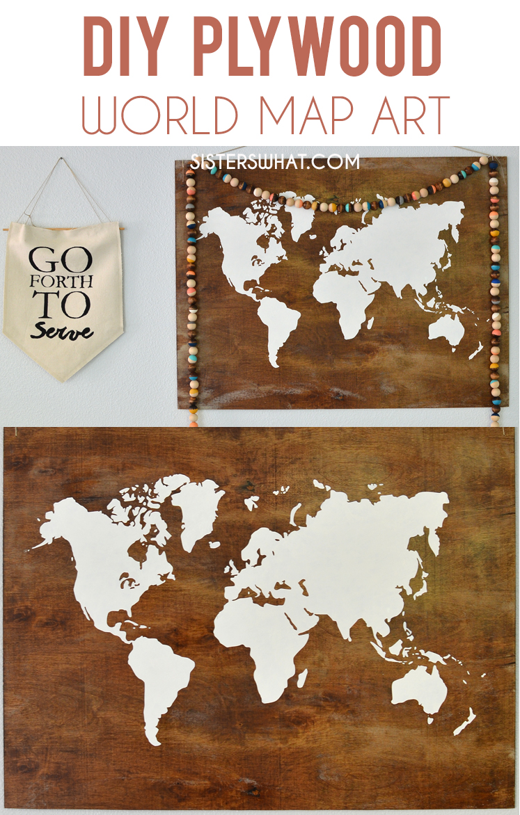 DIY plywood world map art using acrylic paint and vinyl stencil!