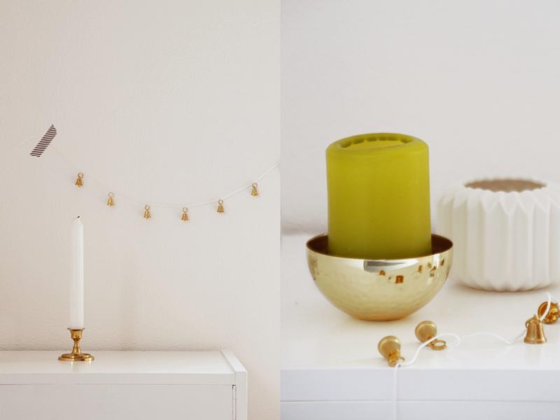 Skandinavische Weihnachtsdeko in Gold, Weiß, Grün