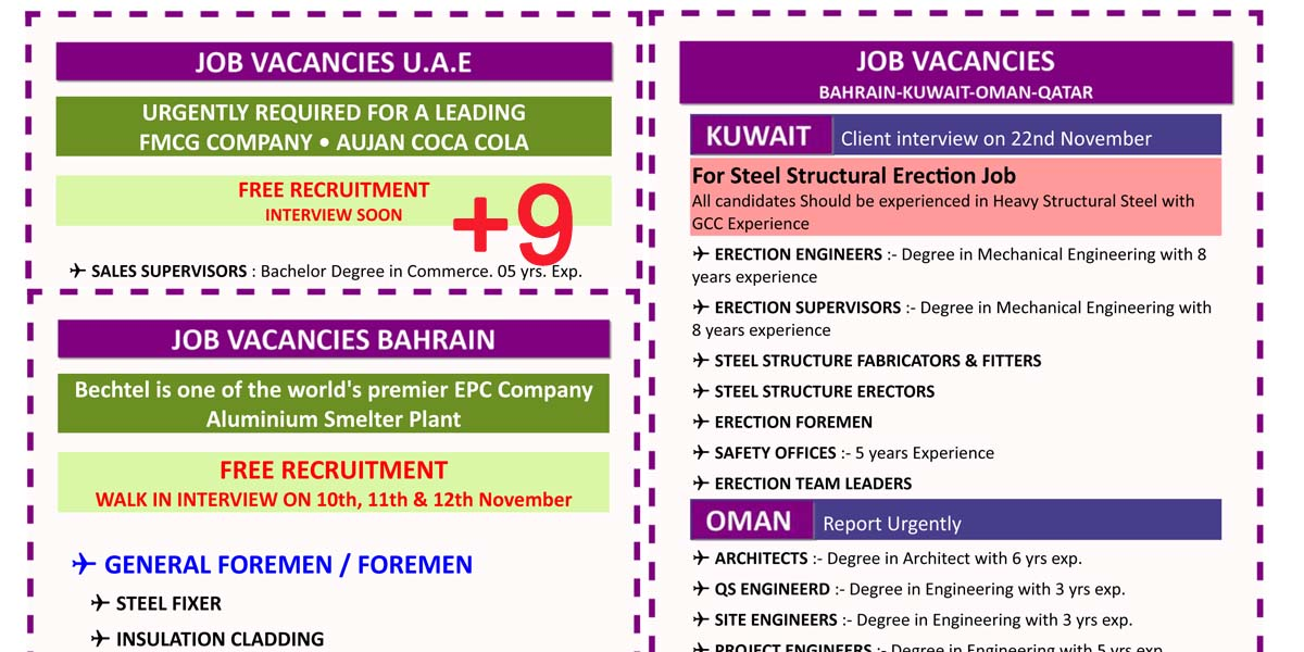 Recruitment Agency: ABROAD JOBS VACANCIES 9NOV