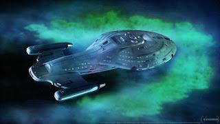 Starship Voyager traversing space