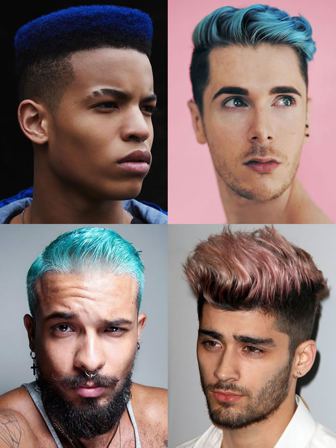 Coloridos azul / verde / rosa dos homens coloridos / tingidos penteados