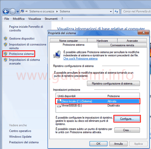 Finestra Protezione sistema Windows configurazione