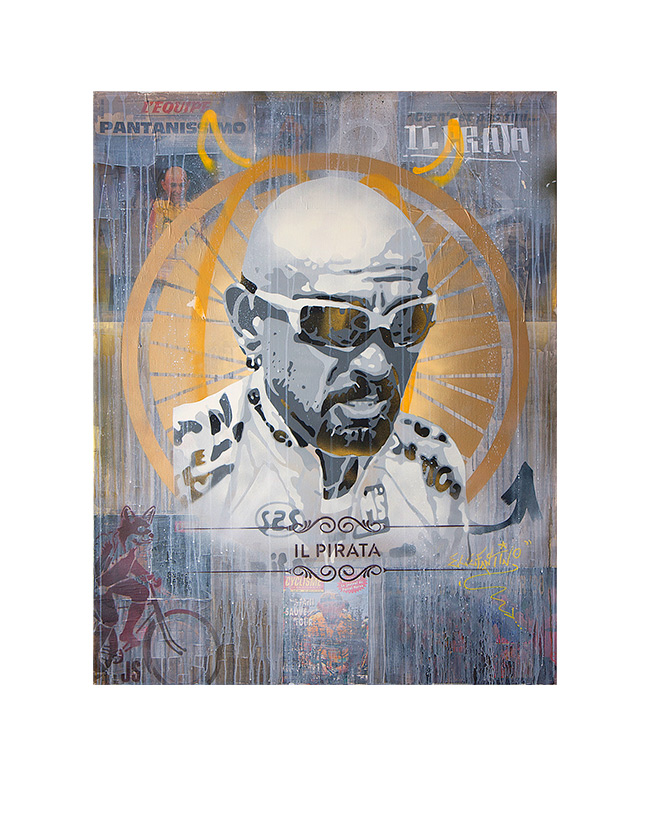 Marco Pantani - James Straffon cycling art When the Fox met The Rooster, Luxembourg