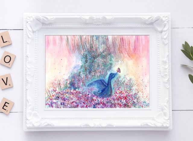 Mystical Blue Bird Watercolor