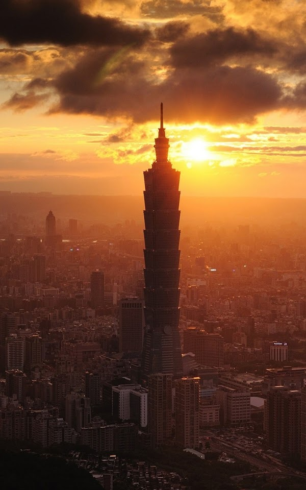 101 Taipei Financial Center Sunset Skyline  Galaxy Note HD Wallpaper