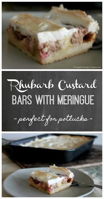 rhubarb custard bars with meringue topping