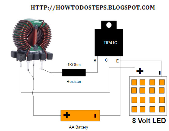 homemade diy howto make high step up current joule thief circuit rh howtodosteps blogspot com inductor joule thief circuit diagram high voltage joule thief circuit diagram