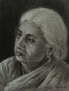 Portrait drawing on Strathmore toned paper by Manju Panchal
