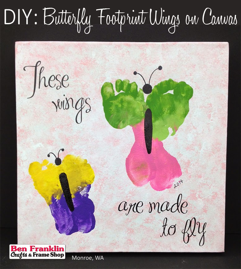 A butterfly wings made from your child's footprints on Canvas