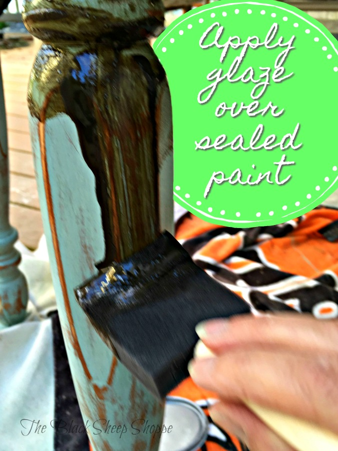 Apply the glaze over sealed paint.