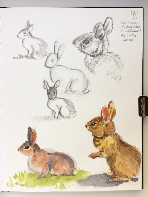 "Daily Art 09-23-17 bunny studies from ""Creating Nature in Watercolor"" by Cathy Johnson in Strathmore 500 Mixed Media Journal"